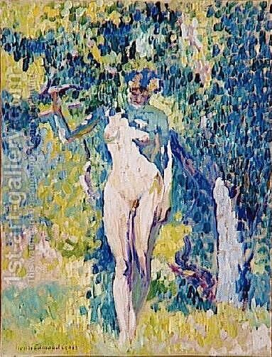 Nude in a Garden by Henri Edmond Cross - Reproduction Oil Painting