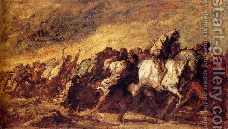 The Fugitives by Honoré Daumier - Reproduction Oil Painting