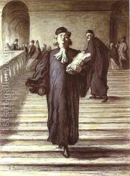 Grand Staircase of the Palace of Justice by Honoré Daumier - Reproduction Oil Painting