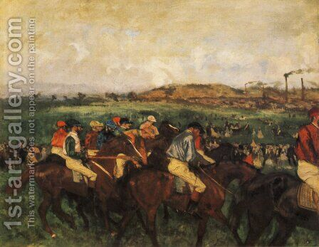 Gentlemen Jockeys Before Start by Edgar Degas - Reproduction Oil Painting