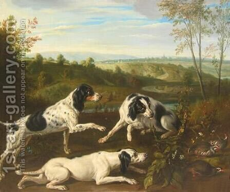 Dogs, sporting and animals by Alexandre-Francois Desportes - Reproduction Oil Painting