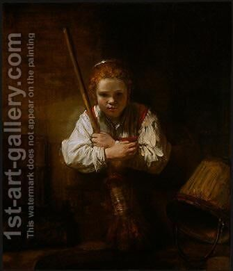 A Girl with a Broom by Carel Fabritius - Reproduction Oil Painting