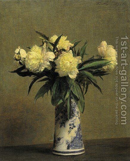 Peonies in a Blue and White Vase by Ignace Henri Jean Fantin-Latour - Reproduction Oil Painting