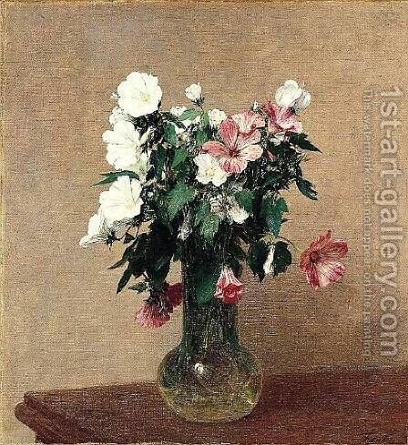 White and Pink Mallows in a Vase by Ignace Henri Jean Fantin-Latour - Reproduction Oil Painting