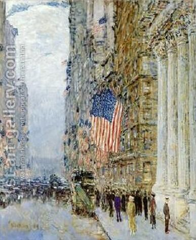 Flags on the Waldorf by Childe Hassam - Reproduction Oil Painting