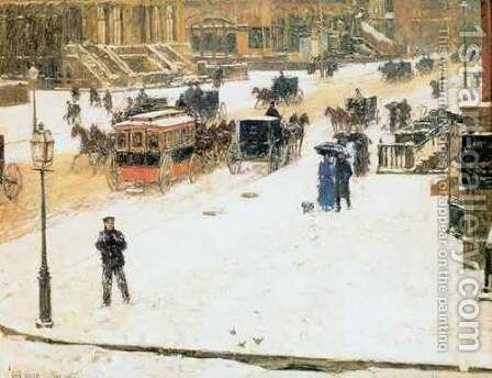 Fifth Avenue in Winter by Childe Hassam - Reproduction Oil Painting