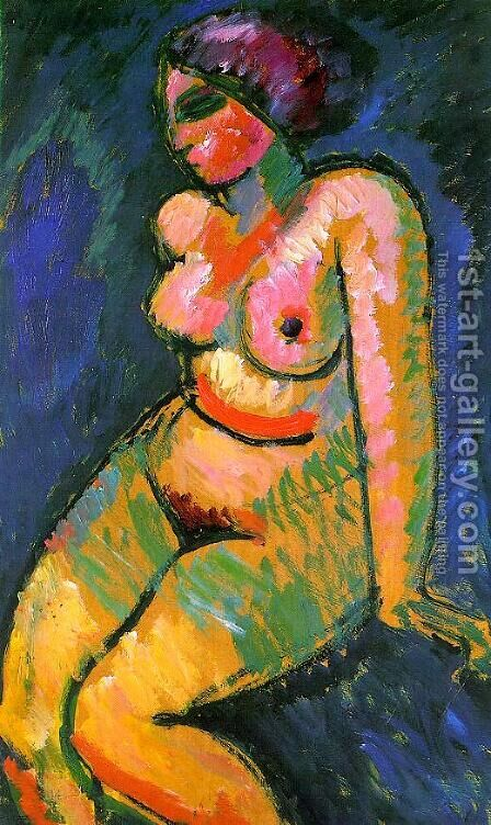 Seated Female Nude by Alexei Jawlensky - Reproduction Oil Painting