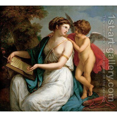 Sappho Inspired by Love by Angelica Kauffmann - Reproduction Oil Painting