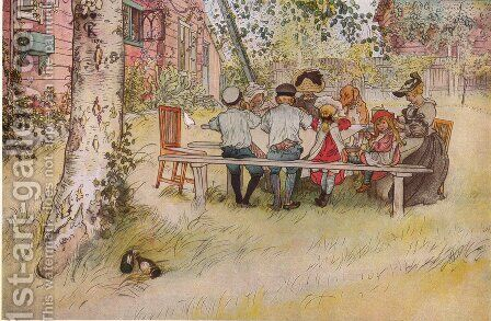 Breakfast under the Big Birch by Carl Larsson - Reproduction Oil Painting