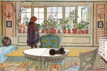 Flowers on the Windowsill by Carl Larsson - Reproduction Oil Painting