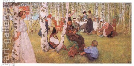 Breakfast in the Open by Carl Larsson - Reproduction Oil Painting