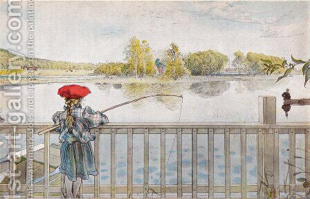 Lisbeth Fishing by Carl Larsson - Reproduction Oil Painting