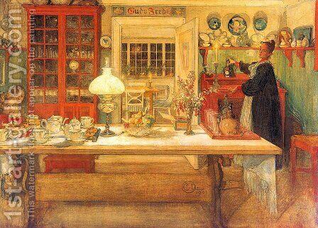 Getting Ready for a Game of Cards by Carl Larsson - Reproduction Oil Painting