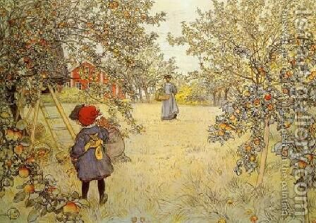 The Apple Harvest by Carl Larsson - Reproduction Oil Painting