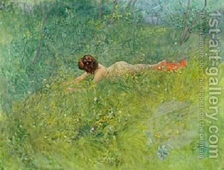 On the Grass by Carl Larsson - Reproduction Oil Painting