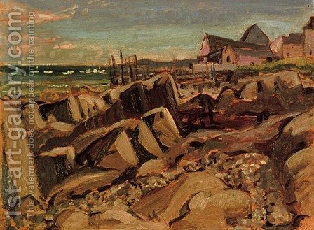 Fishing Village, New Brunswick by Arthur Lismer - Reproduction Oil Painting