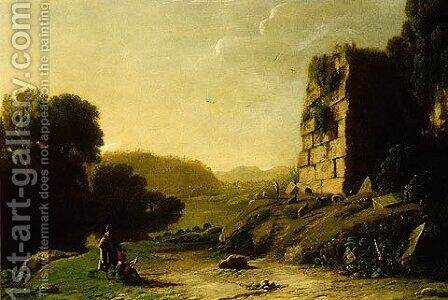 Landscape with a Draughtsman Sketching Ruins by Claude Lorrain (Gellee) - Reproduction Oil Painting