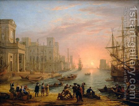 Seaport at Sunset by Claude Lorrain (Gellee) - Reproduction Oil Painting