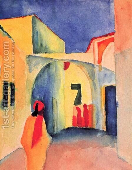 Blick in eine Gasse by August Macke - Reproduction Oil Painting