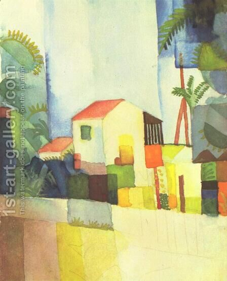 Helles Haus by August Macke - Reproduction Oil Painting