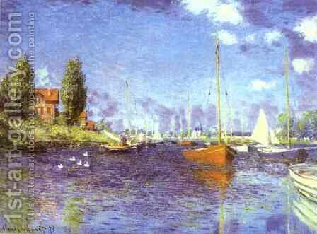 Red Boats at Argentueil by Claude Oscar Monet - Reproduction Oil Painting