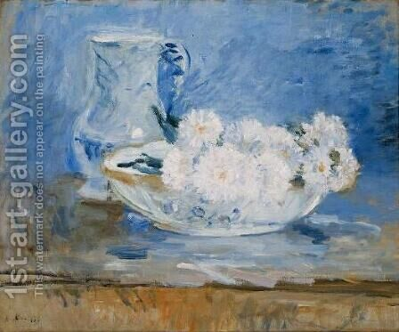 White Flowers in a Bowl by Berthe Morisot - Reproduction Oil Painting