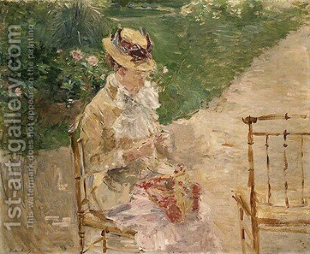 Young Woman Knitting by Berthe Morisot - Reproduction Oil Painting
