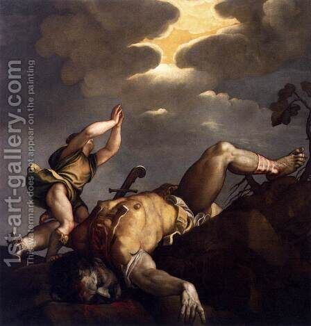 David and Goliath by Tiziano Vecellio (Titian) - Reproduction Oil Painting