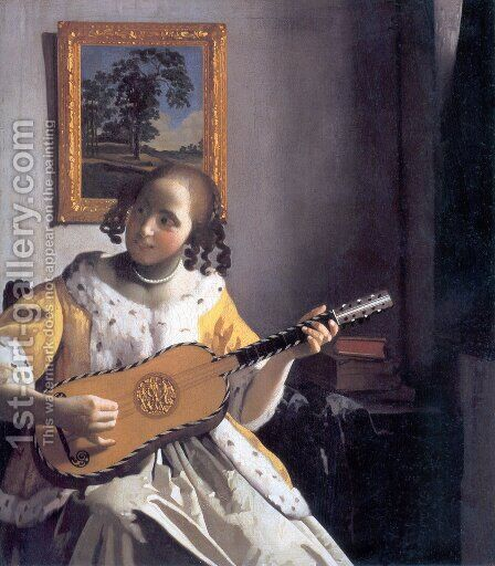 The Guitar Player by Jan Vermeer Van Delft - Reproduction Oil Painting