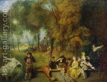 A Garden Party by Jean-Antoine Watteau - Reproduction Oil Painting