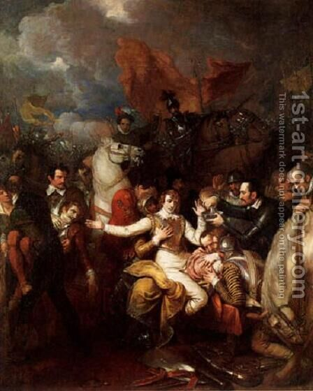 The Fatal Wounding of Sir Philip Sidney by Benjamin West - Reproduction Oil Painting