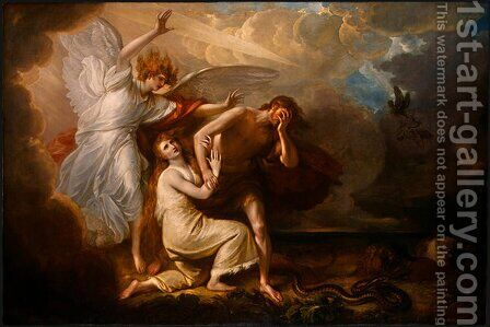 The Expulsion of Adam and Eve from Paradise by Benjamin West - Reproduction Oil Painting