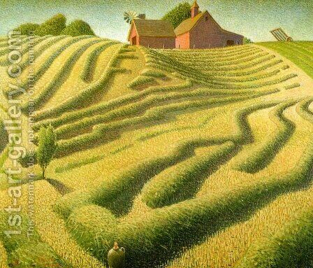 Haying by Grant Wood - Reproduction Oil Painting