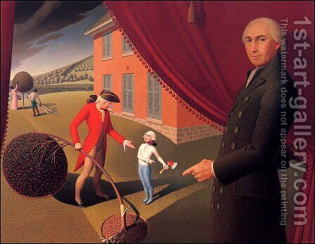 Parson Weems' Fable by Grant Wood - Reproduction Oil Painting
