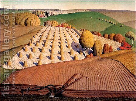Fall Plowing by Grant Wood - Reproduction Oil Painting