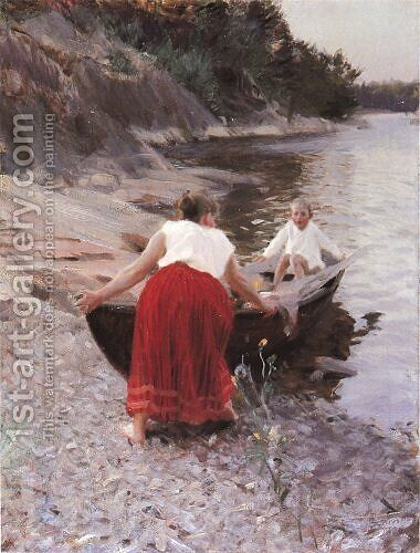 Woman in Red Skirt by Anders Zorn - Reproduction Oil Painting