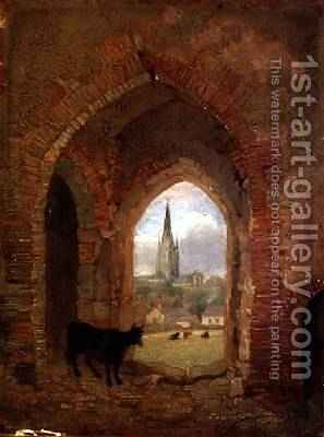 View through the Archway of the Cow Tower Norwich by Henry Ninham - Reproduction Oil Painting