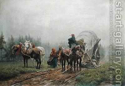 The Broken Freight Wagon 1862 by Arthur Johann Severin Nikutowski - Reproduction Oil Painting