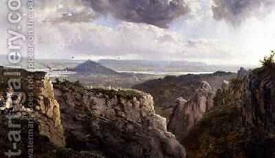 The Elbor Rocks looking towards Glastonbury with the artist EJ Niemann painted by AF de Prades by Edmund John Niemann, Snr. - Reproduction Oil Painting