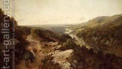 An extensive river landscape by Edmund John Niemann, Snr. - Reproduction Oil Painting