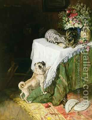 The Mischievous Tabbies by Clemence Nielssen - Reproduction Oil Painting