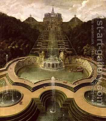 View of the Octagon over the Waterfalls and the Pools of Neptune after 1716 by Jan van Nickelen - Reproduction Oil Painting