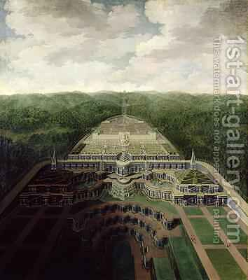 View of the Karlsberg Complex from the Cascades and Gardens to the Octogon after 1716 by Jan van Nickelen - Reproduction Oil Painting