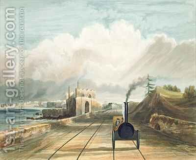 Dublin and Kingstown Railway From the Footbridge at Sea Point Hotel Looking Towards Salt Hill Kingstown Harbour in the Distance by Andrew Nicholl - Reproduction Oil Painting