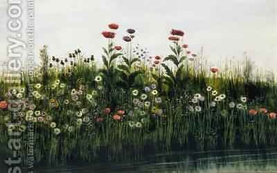 Poppies Daisies and Thistles on a River Bank by Andrew Nicholl - Reproduction Oil Painting