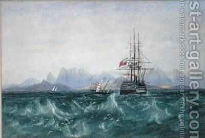 The British Fleet Surrounded by Flying Fish off Ceylon by Andrew Nicholl - Reproduction Oil Painting