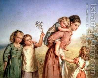 A Mother with her Children 1870 by Agnes Nicholl - Reproduction Oil Painting