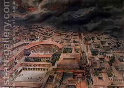 The Eruption of Vesuvius at Pompeii in 79 AD by (after) Niccolini, Antonio - Reproduction Oil Painting
