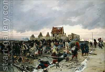 Bivouac at Le Bourget after the Battle of 21st December 1870 1872 5 by Alphonse Marie de Neuville - Reproduction Oil Painting