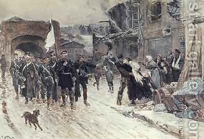 The Entrance into Belfort of the German Commander Bearing the Flag of Truce 4th November 1870 1884 by Alphonse Marie de Neuville - Reproduction Oil Painting